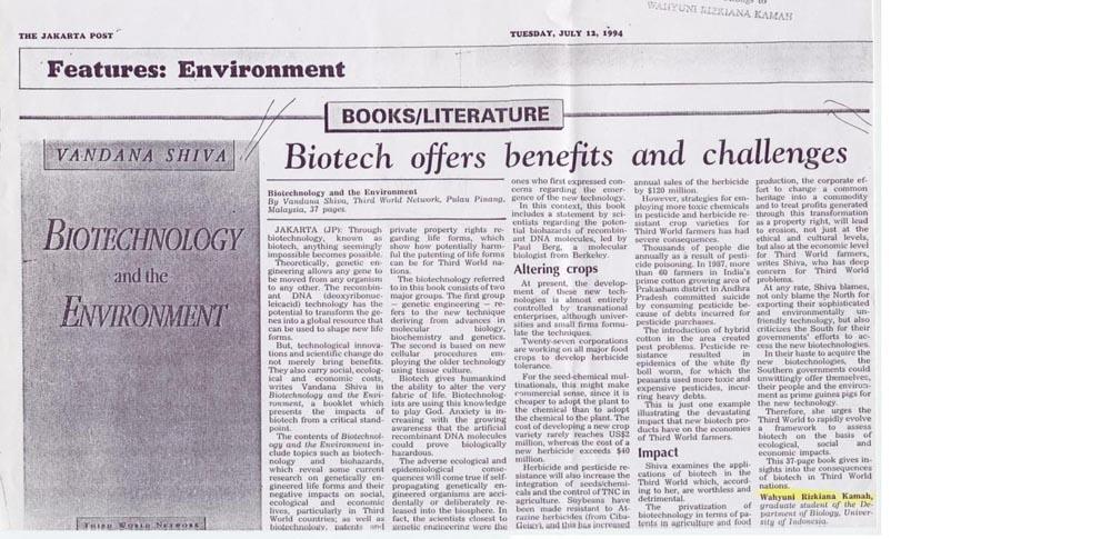 1-Biotech offers benefit(Jakarta Post. 12 July 1994)