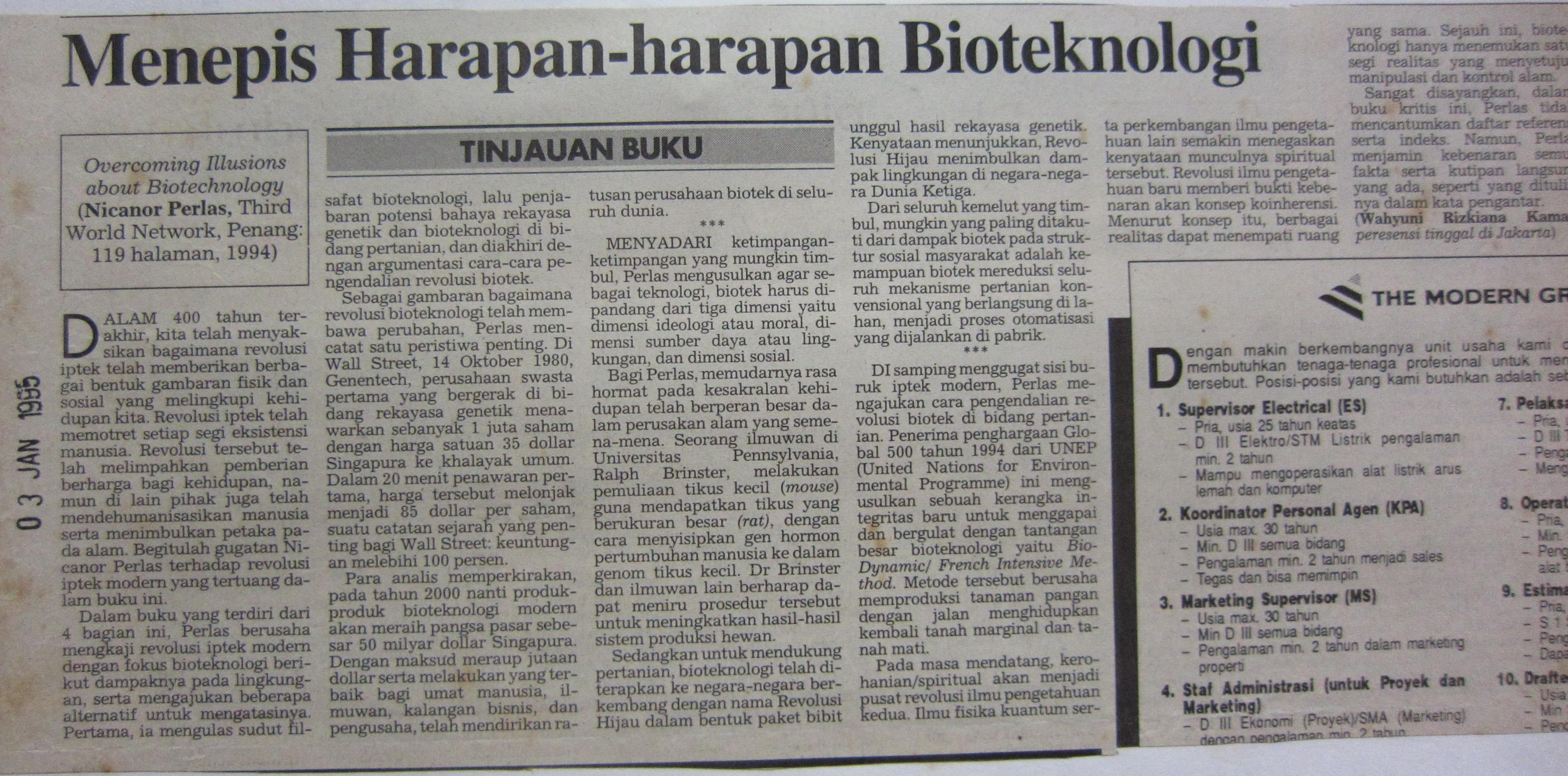 1995 Jan 3, KompasMenepis Harapan harapan Bioteknologi